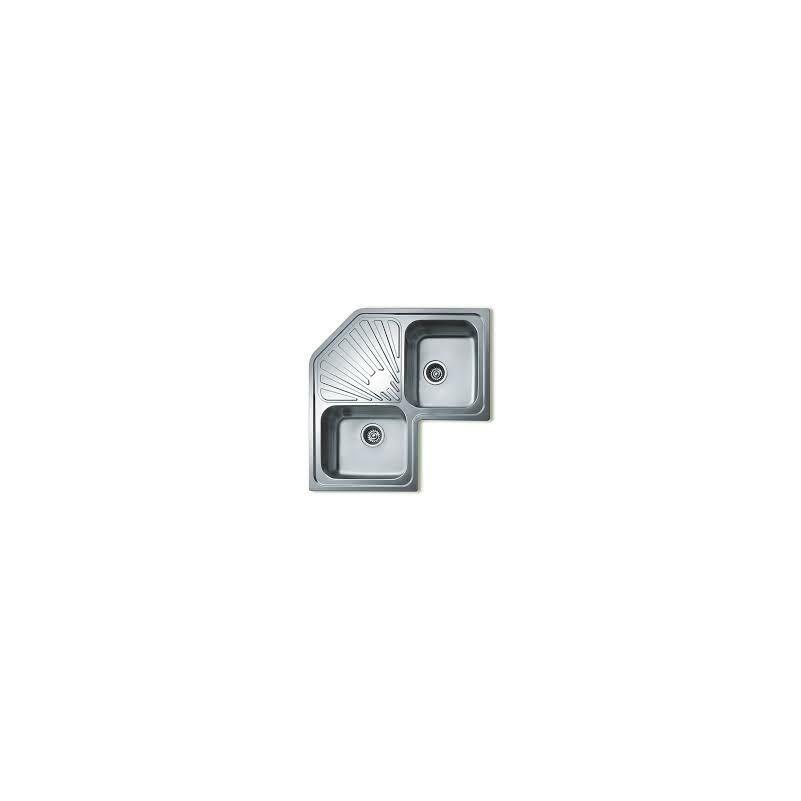 """Teka Classic Angular 2B inox, (10118008) fényes, sarok mosogató, 3 ½"""" lefolyócsomag"""