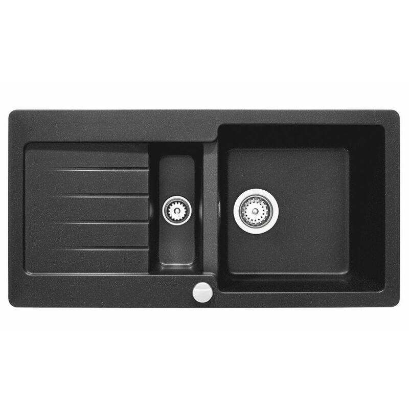 """Teka Kea 60 B TG 88965 Metál fekete gránit mosogatótálca megfordítható, 3½"""" lefolyócsomag dugóemelővel"""